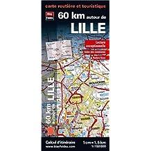 60 km autour de Lille, carte routière et touristique