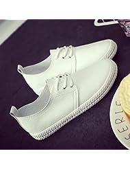 Las Mujeres De Bajo Fondo Plano Superior Encaje Ocio Zapatos De Lona Suave Cuero Alojamiento,39,Blanco