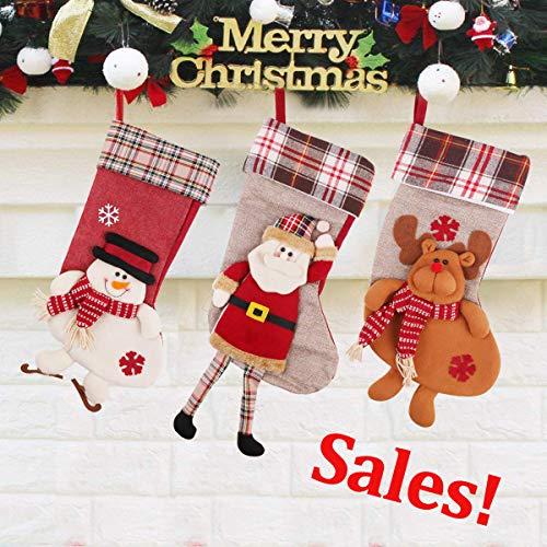 PROACC 3 Stück Weihnachten Weihnachtsstrümpfe, große Größe (19.8in) Weihnachtsstrümpfe & -socken Weihnachtsstrumpf Natur zum Befüllen - 3D Schneemann, Weihnachtsmann, Rentier