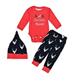 Sikye Xmas Red Newborn Baby Romper Bodysuit+Pants Hat Clothes Outfits Deer Printed Baby Christmas suit (3-6 Month For Baby