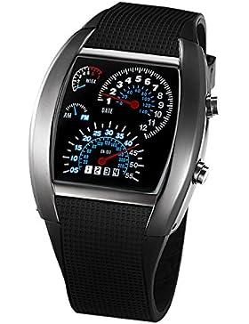 SODIAL(R) Auto Meter Zifferblatt geschlechtsneutral Blau Blitz Punkt Matrix LED Lauffuhr Armbanduhr