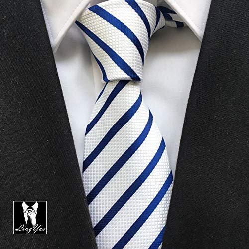 FDHFC Neue Ankunfts-Spitze Gesponnene Krawatte-Formale Gelegenheits-Krawatten Weiß Mit Marine-Blau-Streifen - Krawatte Streifen