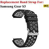 TASLAR Soft Replacement Breathable Sport Bands with Air Holes for Samsung Gear S3 Smart Watch Band (Black Grey, TPU Band For Samsung Gear S3)