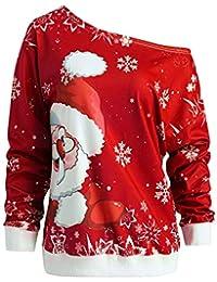 Marlene (R) Weihnachten Pullover-Damen Lange Ärmel-Weihnachtsmann Drucken-Skew Kragen Sweatshirt Bluse (-35%) S~XL