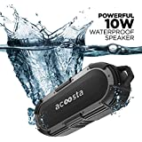 ACOOSTA Bold 850, IPX8 100% Waterproof, Portable Wireless Bluetooth Speaker (10 watt) with Loud Bass, Shockproof & Dustproof with Built in Mic, Aux & Upto 12hrs of Playtime (2500 mAh) - (Black-Gray)