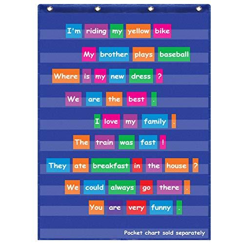 Eamay Taschentabelle in Standardgröße, Transparente Taschentabelle zum Aufhängen, 10 Taschen für Zuhause, Schulunterricht, ideal für Sight Worte, Sentence Strips, Lesen (109,2 x 71,1 cm) blau (Streifen Pocket Chart)