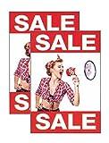 Plakate 2 Stück aus Papier 150g/qm 58,4 x 83,2 cm SALE (Megafon - Frau) ohne R für Räumungsverkaufahmen Werbesymbol