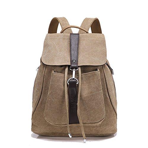 Minetom Damen Schulrucksack Dame Stil Einfarbig Schulranzen Schultasche Rucksack Freizeitrucksack Daypacks Backpack Khaki