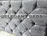MARKET STYLE Headboard in Crushed Velvet WITH DIAMONDS Great Quality Cheapest by Elegant Beds (3FT Single, Silver)