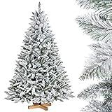 5037ca3ef2ef FairyTrees Albero di Natale Artificiale Abete Rosso, Bianco Naturale con  Fiocchi di Neve, Materiale