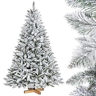 FairyTrees Árbol de Navidad Artificial Artificial Picea, Flocado con Copos DE Nieve, el Tronco Verde, Material PVC, Soporte de Madera, 150cm, FT13-150