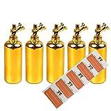 TORG TRADING NOS Liquidflaschen 5 x 60ml - Kunststoffflaschen aus PET - inkl. 5 Etiketten - Tropfflaschen,Dosierflaschen,Quetschflaschen (Gold)