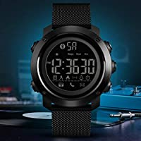 SKMEI Milanese Strap Sport Smart Watch Men Calories Pedometer Bluetooth Watches(Black)