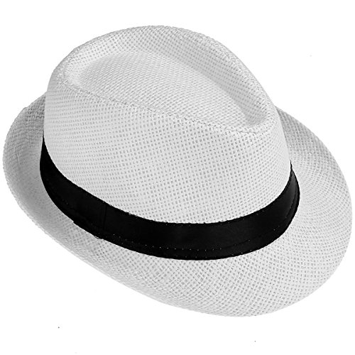 Faletony Kinder Jungen Mädchen Panamahut Sonnenhut Sommerhut Beach Hut Strohhut Jazz Hut (Weiß)