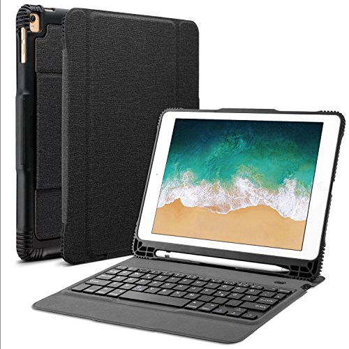OMOTON abnehmbare Bluetooth Tastatur Hülle, deutsches Layout QWERTZ Wireless Keyboard Case Cover für Das iPad Air, Air 2, iPad Pro, iPad 2017 iPad 2018, schwarz