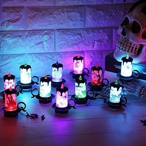 Bougies LED,Dotbuy Décoration de Halloween 12PCS sans Flamme Vacillante Bougeoir avec Batteries Citrouille Sorcière Araignée Atmosphère d'horreur