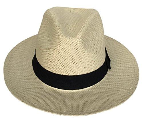 Smile YKK Chapeau Paille de Soleil de Beach Plage d'été Homme Ecru