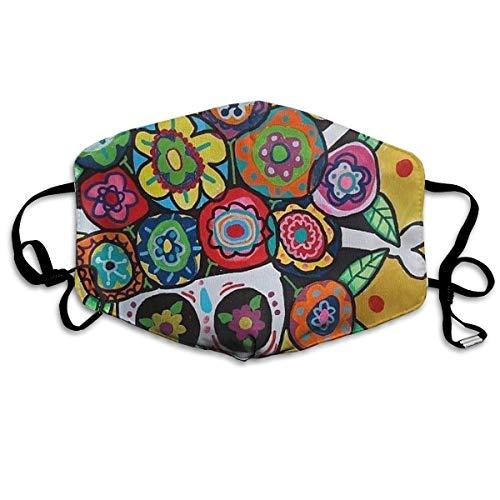 Mundmaske mit Ohrschlaufen aus hochwertigem Polyester, atmungsaktiv, lustige Totenkopf-Blumen, verstellbares elastisches Band, winddicht, wiederverwendbar und waschbar, Anti-Flu