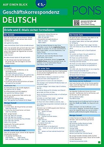 PONS Geschäftskorrespondenz auf einen Blick Deutsch: Briefe und E-Mails sicher formulieren (PONS Auf einen Blick)