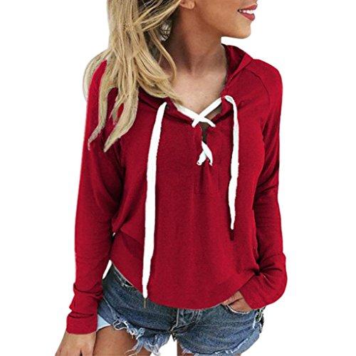 OverDose Donna Felpe Magliette Maglie Camicetta T-shirt Manica lunga Crop Top V-Neck rosso_A