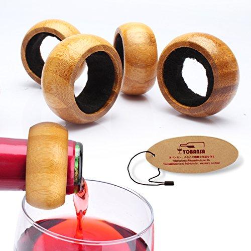 yobansa Drop Drip Stopper Wein Halsband Wein Drip Ringe Flasche Alkohol Stop Perfekte Geschenk für Weinliebhaber, (2Stück) bambus