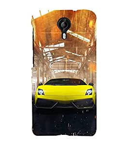 FUSON Superb Yellow Sports Car 3D Hard Polycarbonate Designer Back Case Cover for Micromax CanvasNitro4G E371