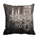DEFFWB Vena.e £¨45cmx45cm£©Linen Square Thro Pillowcase Placed Candles Chandelier eb1661xc