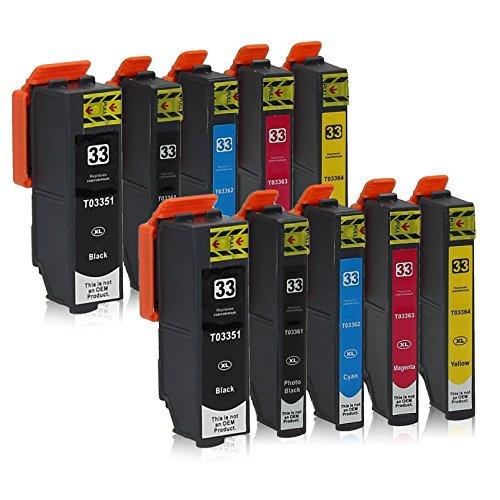 10 Druckerpatronen kompatibel zu Epson 33-XL passend für Epson Expression Premium XP-530 XP-540 XP-630 XP-635 XP-640 XP-645 XP-830 XP-900 (Tinte Premium Kompatibel)