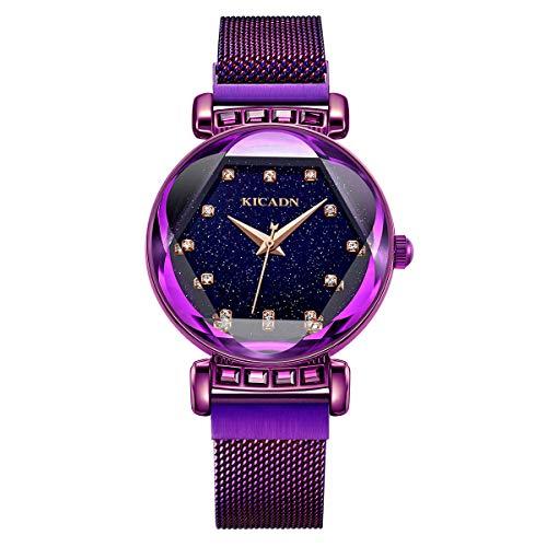 (Mode Damen Wasserdicht Quarz Armbanduhr Kleid Elegant Luxus Mesh Armband Magnetband Sternenklarer Himmel Simulierter Diamant Dial Armbanduhr (Hellviolett))