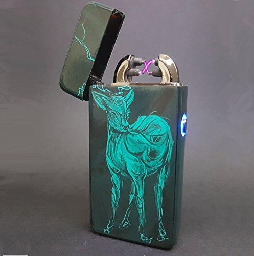 Flux Art Plasma-Feuerzeug/Elektrofeuerzeug, mit doppeltem Lichtbogen, aufladbar per USB,umweltfreundlich,windfest,spritzwassergeschützt, benötigt keinen Brennstoff, Lieferung in luxuriöser Geschenkbox, 100 % Elektrofeuerzeug, Electric Deer