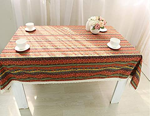 MeMoreCool Red Boho National Style Striped Pattern Rectangular Table Cloth Multi-function Dustproof Dining-table Cloth Cover Cotton Linen Cloth Art