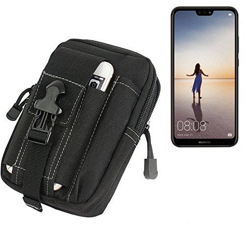 K-S-Trade für Gürtel Tasche Huawei P20 Lite Single-SIM Gürteltasche Schutzhülle Handy Hülle Smartphone Outdoor Handyhülle schwarz Zusatzfächer
