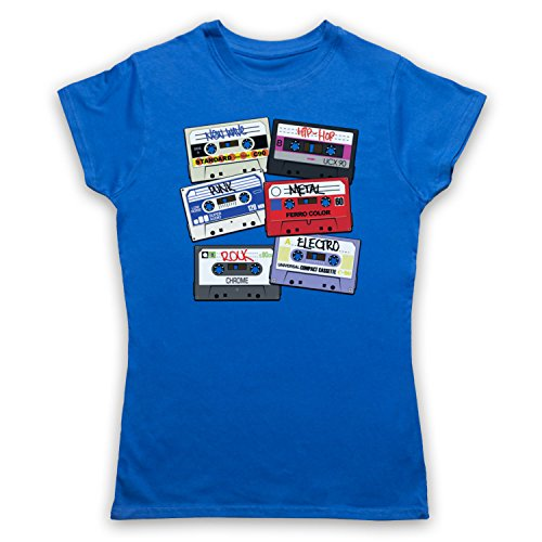 Cassette Tapes Retro Mix Tape Damen T-Shirt Blau