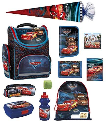 Familando Disney Cars Schulranzen-Set 16tlg. mit Regenschutz, Sportbeutel, Federmappe, Schultüte 85cm TEMCA45 blau