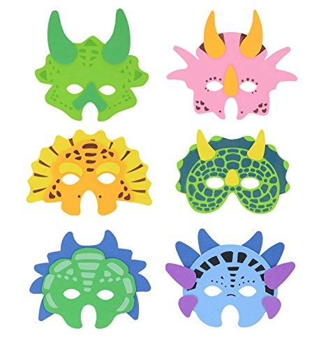 Henbrandt 12x Dinosaurier Schaum Masken - Party Taschenfüller/Klassenzimmer Auszeichnungen/Kinderspielzeug/Preise