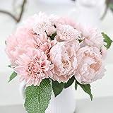 Longra Wohnaccessoires & Deko Kunstblumen Künstliche Fake Pfingstrose Seide Blume Bridal Hortensie Home Hochzeit Garten-Dekor Bouquet (pink)