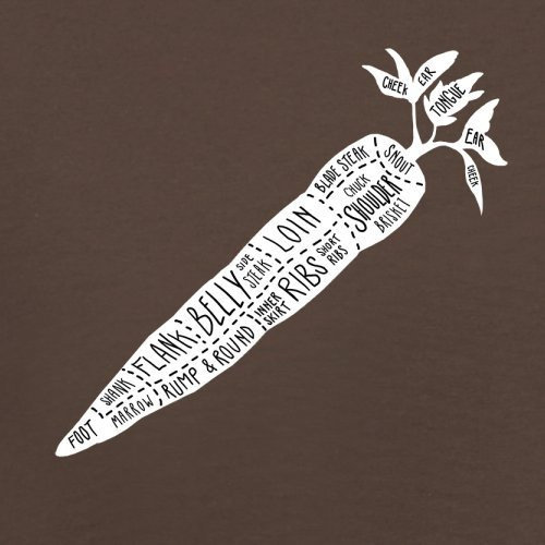 Butcher Carrot Diagram - Herren T-Shirt - 13 Farben Schokobraun