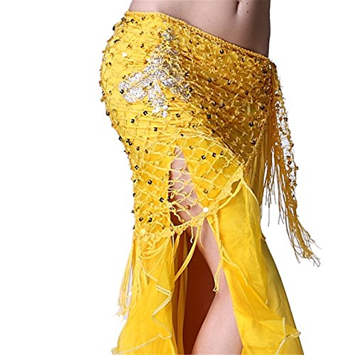 Dance Accessories Lndian Dance Tribal Womens Danse du ventre costume Hip écharpe Hip jupe Triangle Tassel Foulard Costume yellow