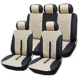 SITU universal Auto Schonbezug Komplettset Sitzbezüge für Auto aus Kunstleder schwarz/beige SCSC0081