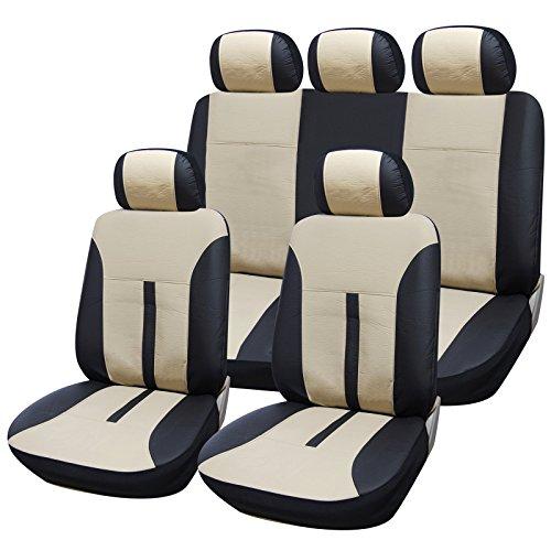 eSituro universal Auto Schonbezug Komplettset Sitzbezüge für Auto aus Kunstleder schwarz/beige SCSC0081