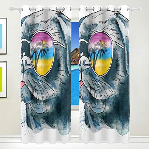 XiangHeFu Morden Blackout Vorhänge mit Tülle Top Fashion Bulldog In Sonnenbrillen Vorhänge Set von 2 Panels, jeweils 55W x 84L Zoll für Zuhause Wohnzimmer Schlafzimmer Büro