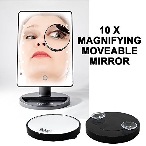 Peppermint Cafe - Light Up Mirror   Black Makeup Mirror with Lights Set   Large Touch Screen with 16 Natural Bright LEDs   Portable Cordless LED Illuminated Mirror for Home, Office, Tabletop or Travel