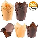 TecUnite 200 Pezzi Tazze di Muffin di Carta Tazze da Forno Cupcake e Tazze da Forno per Muffin per Matrimonio e Compleanno, Marrone e Colore della Natura