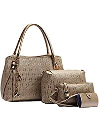 LACIRA Women's Shoulder Bag, Satchel, Card holder and handbag( Gold,BA003GOL)