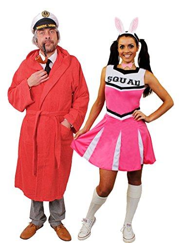 boy KOSTÜM FÜR Paare ODER NUR DER Playboy=Cheerleader MIT Hasen Ohren=EINE VERKLEIDUNG IN DER SIE AUFFALLEN=Paare-Mann-MEDIUM+ROSA Cheerleader+ROSA Ohren-XXLarge ()