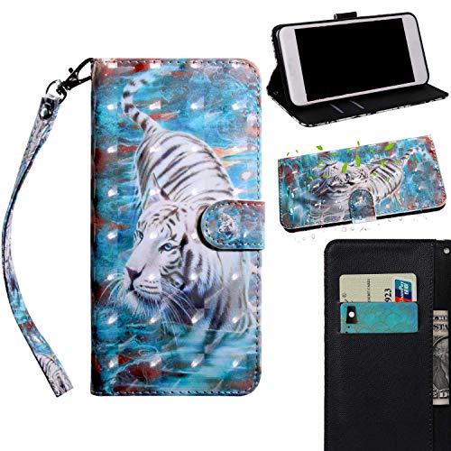 Sony Xperia XA1 Ultra Hülle,THRION PU 3D Brieftaschenetui mit magnetischer Handschlaufe und Ständerhalterung für Sony Xperia XA1 Ultra, Tiger