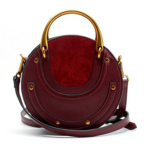 Actlure Women Genuine Cowhide Leather Round Shape Top handle Shoulder Purse Crossbody Bag (WINE) (Leather Classic Satchel)