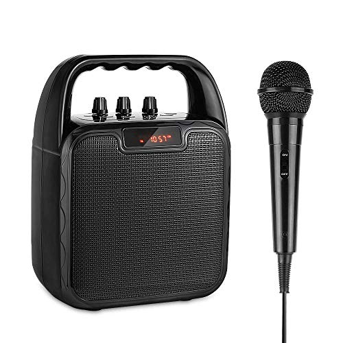 Altoparlante portatile per karaoke bluetooth wireless con microfono, amplificatore vocale ricaricabile per porte usb,sd,tf,bluetooth e aux-in,per matrimoni,compleanni,feste