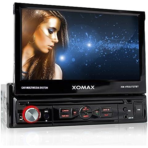 XOMAX XM-VRSU727BT radio para coche/coche + Monitor motorizado + 18 cm/7'' pantalla táctil de alta definición HD + de vídeo y Audio: MP3 incl ID3 TAG, WMA, MPEG4, AVI, DIVX etc, + Bluetooth manos libres y reproducción de música via A2DP + iluminación rojo + Conexión USB hasta 32 GB! + ranura para tarjetas SD de hasta 32 GB! + sintonizador RDS + cámara de conexión + conexión para Subwoofer + Single DIN (1 DIN) Tamaño de instalación estándar + con mando a distancia y marco