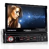 XOMAX XM-VRSU727BT Autoradio / Moniceiver + Bildschirm ausfahrbar + 18 cm / 7' High Definition HD Touchscreen Display + Audio & Video: MP3 inkl ID3 TAG, WMA, MPEG4, AVI etc. + Bluetooth Freisprecheinrichtung & Musikwiedergabe via A2DP + Beleuchtungsfarbe rot + USB Anschluss bis 32 GB! + SD Kartenslot bis 32 GB! + RDS Radio Tuner + Rückfahrkamera Anschluss + Anschluss für Subwoofer + Single DIN (1 DIN) Standard Einbaugröße + inkl. Fernbedienung & Einbaurahmen